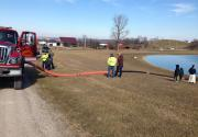 Reaching the Pond with 90 Feet of Hose Quick Coupled Together.